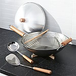 6-Piece Carbon Steel Wok Set