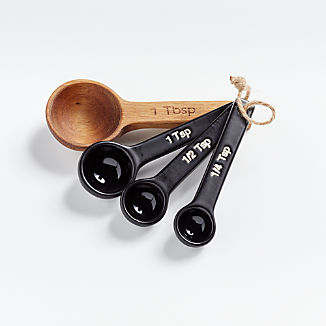Wood and Black Ceramic Measuring Spoons