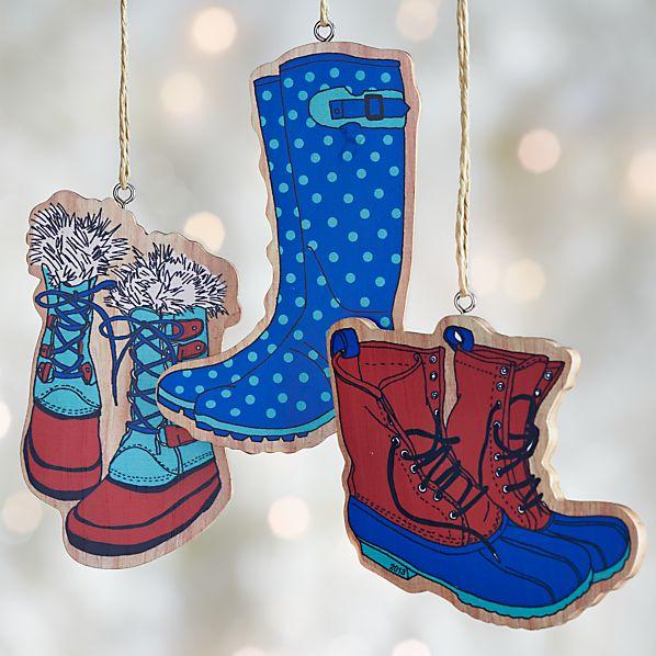 Set of 3 Wood Boot Ornaments