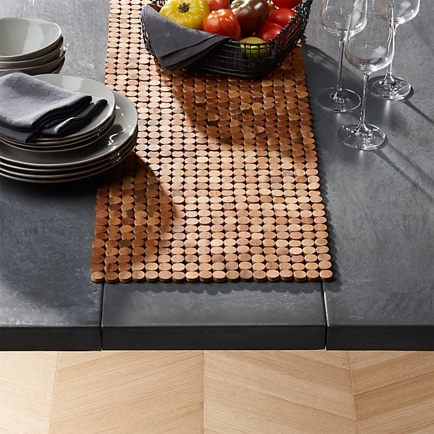 Wood Dot Centerpiece Table Runner Crate And Barrel