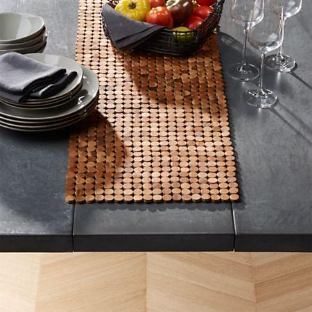 Wood Dot Centerpiece Table Runner