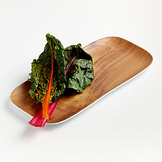 Wood Grain Melamine Rectangular Platter