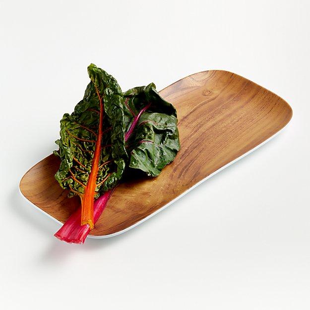 Wood Grain Melamine Rectangular Platter - Image 1 of 4