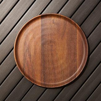 Wood Grain Melamine Dinner Plate