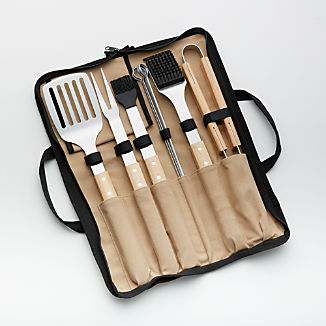 Wood-Handled 9-Piece Barbecue Tool Set