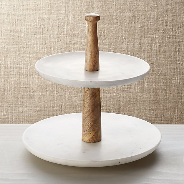 Wood Marble 2-Tier Server - Image 1 of 13