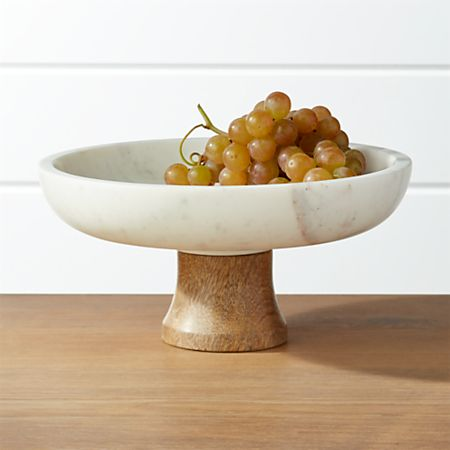 Wood And Marble Footed Fruit Bowl Crate Barrel