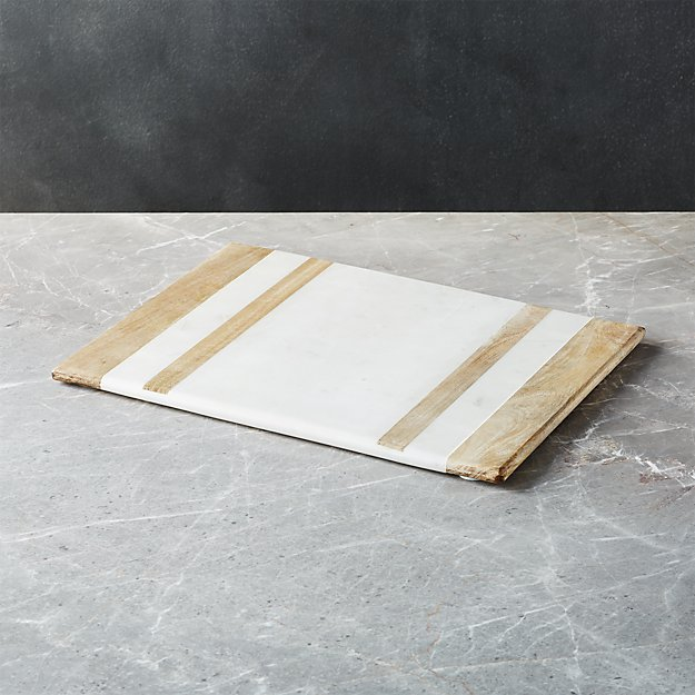 Wood/Marble Inlay Serving Board - Image 1 of 2