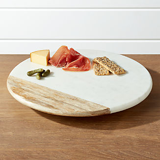 Wood and Marble Lazy Susan
