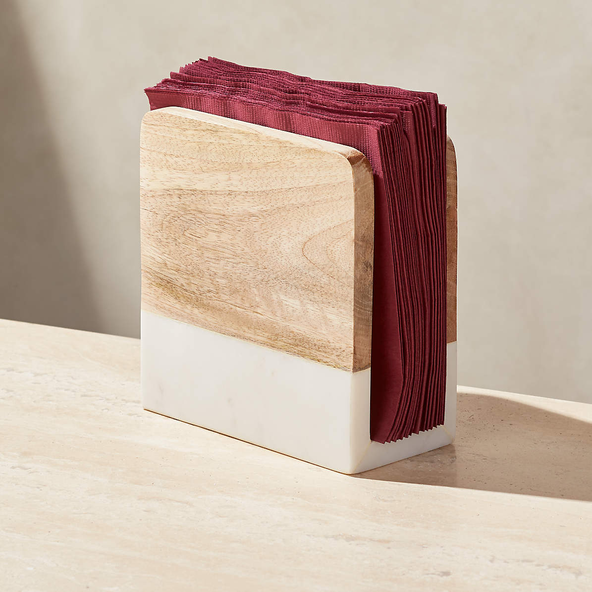 Wood And Marble Napkin Holder Reviews Crate And Barrel