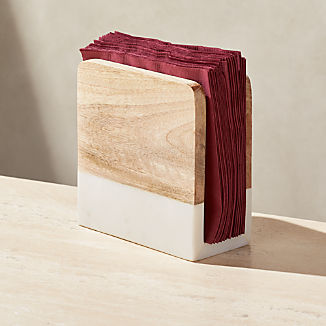 Wood and Marble Napkin Holder