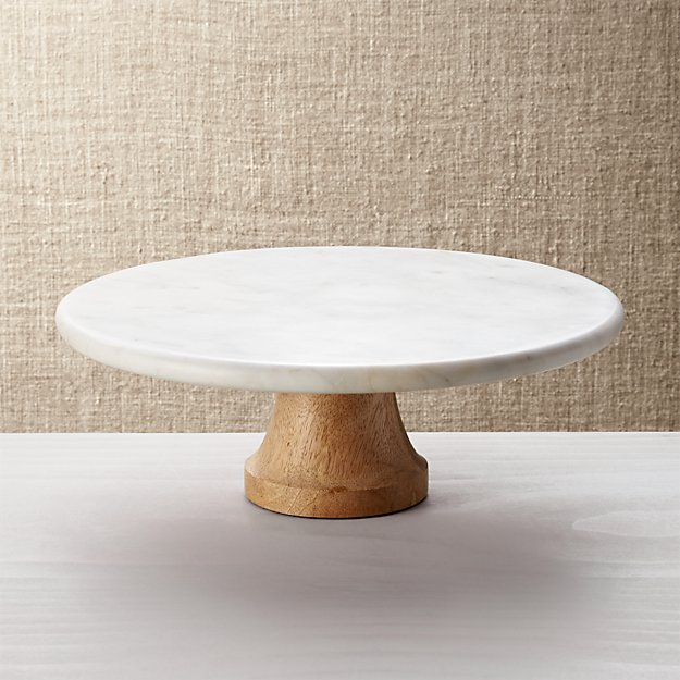 Top Wood Marble Pedestal + Reviews | Crate and Barrel UB54