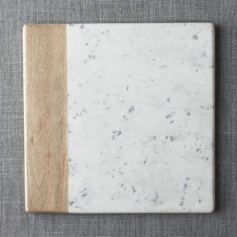 Wood Marble Square Platter