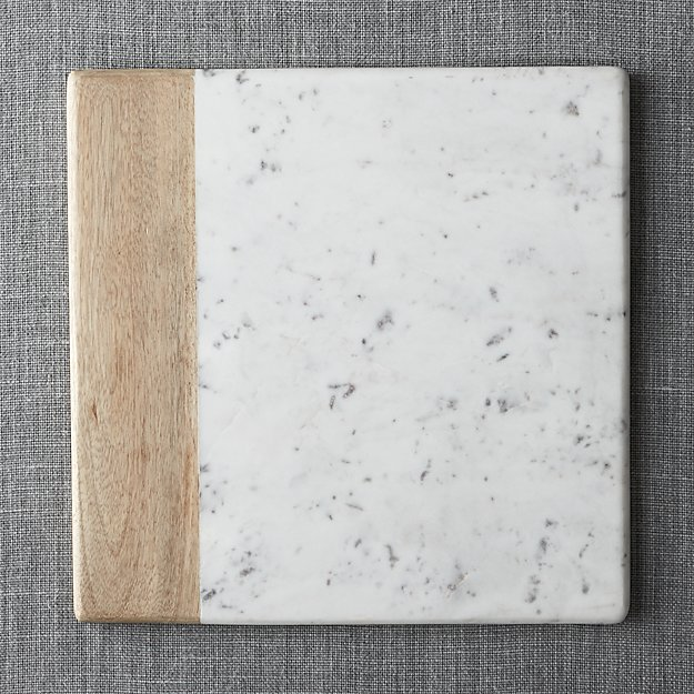 Wood Marble Square Platter Reviews Crate And Barrel