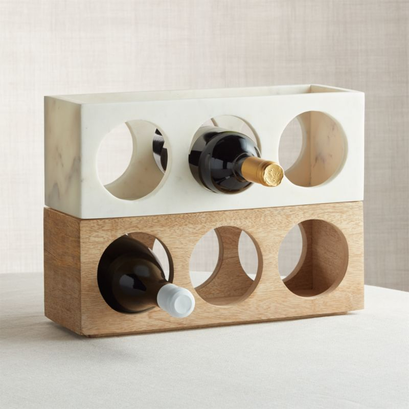 Wood And Marble Stacking 3 Bottle Wine Racks Set Of 2