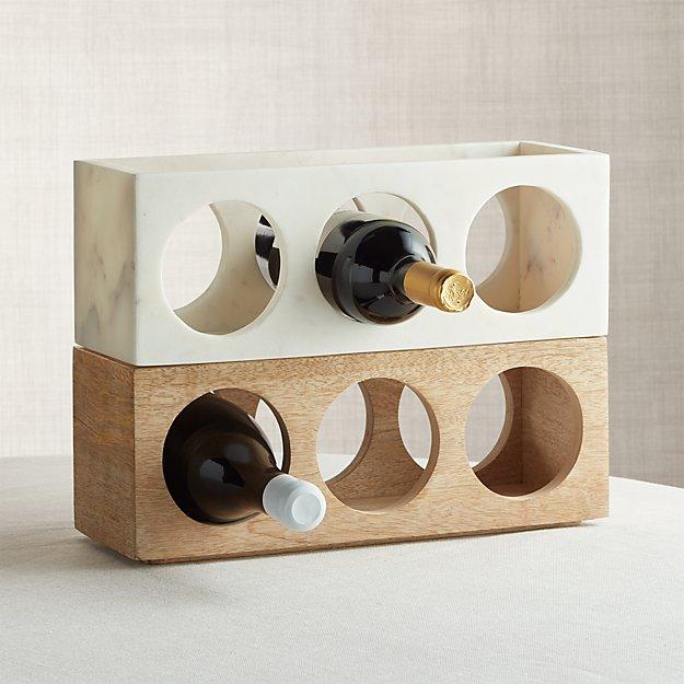 Wood and Marble Stacking 3-Bottle Wine Racks, Set of 2 - Image 1 of 9