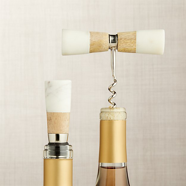 Wood and Marble 2-Piece Wine Set - Image 1 of 2