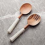 Wood and Marble Salad Servers, Set of 2