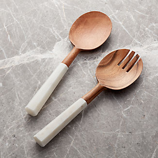 Wood and Marble Salad Servers, Set of 2