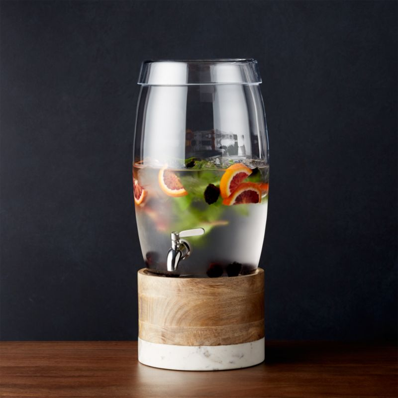 Oregon Glass Drink Dispenser With Wood And Marble Stand