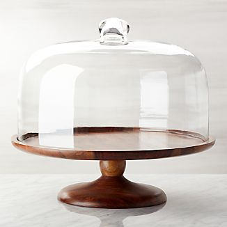 Wood Pedestal Server with Dome