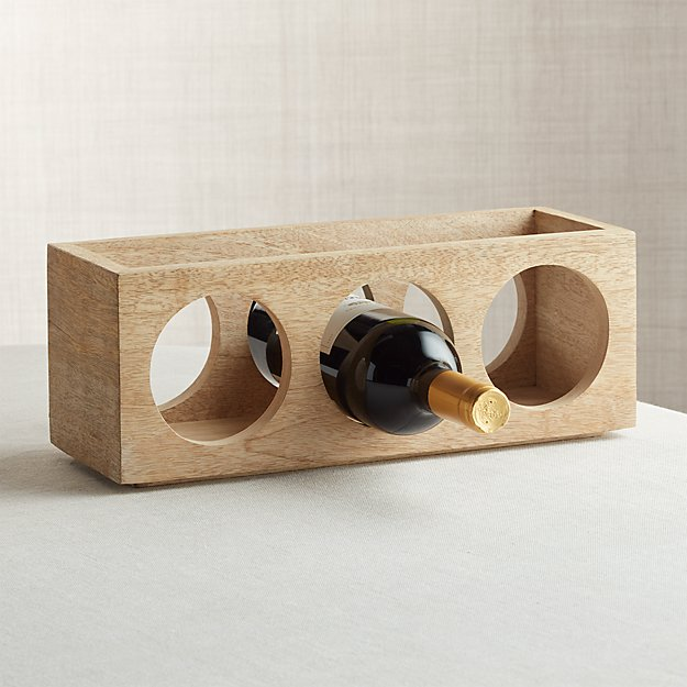 c858c9d3cd Wood Stacking 3-Bottle Wine Rack + Reviews | Crate and Barrel