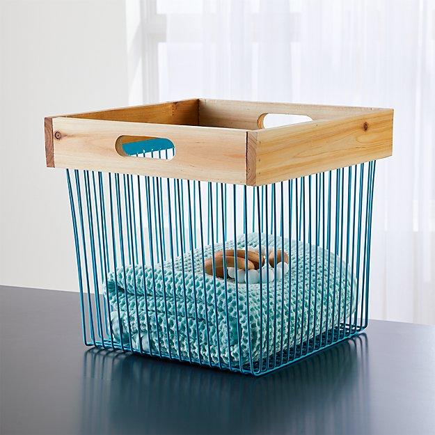 Aqua Wood & Wire Storage Bin + Reviews | Crate and Barrel