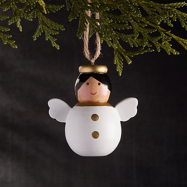 Wooden Bubble Angel with Black Hair Christmas Ornament