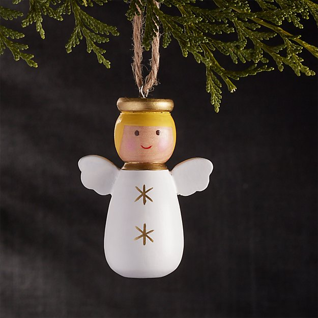 Wooden Bubble Angel with Blonde Hair Christmas Ornament