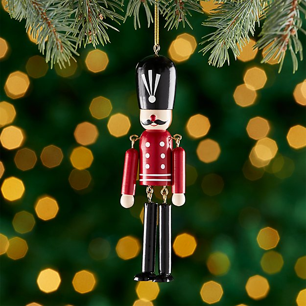 Red Wooden Soldier Ornament with Dangle Legs