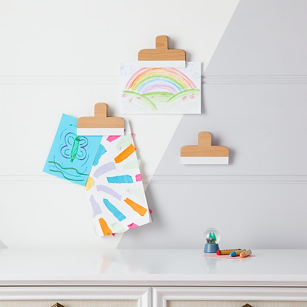 White Wooden Wall Art Clips, Set of 3 + Reviews | Crate and Barrel