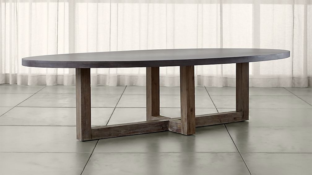 Woodward Oval Dining Table with Solid Wood Base Crate and Barrel