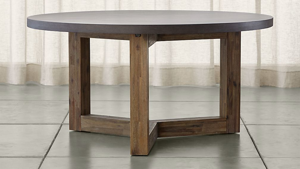 Woodward round dining table with solid wood base crate for Solid wood round tables dining