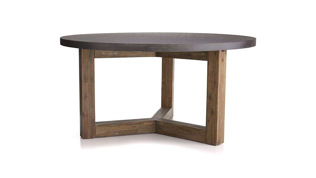 Woodward Round Dining Table with Solid Wood Base | Crate and Barrel