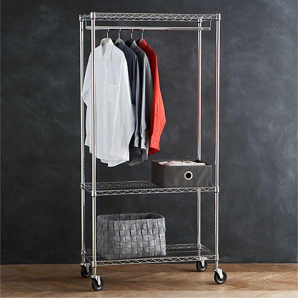 Work Mobile 3-Shelf Garment Rack