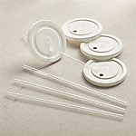 Working Glass Lids with Straws, Set of 4