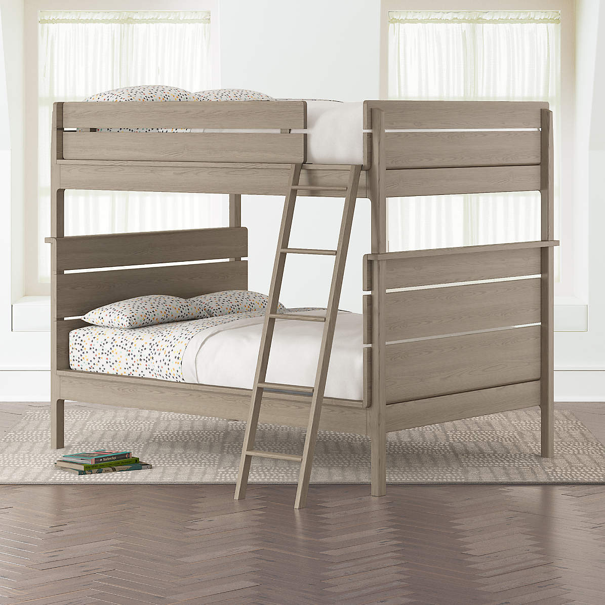 Picture of: Kids Grey Full Over Full Bunk Bed Reviews Crate And Barrel