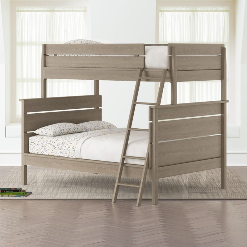Kids Grey Twin Over Full Bunk Bed Reviews Crate And Barrel