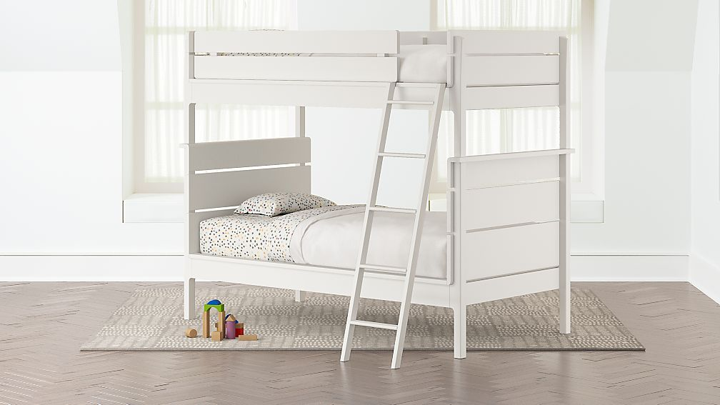 Wrightwood White Twin-Over-Twin Bunk Bed + Reviews | Crate and Barrel