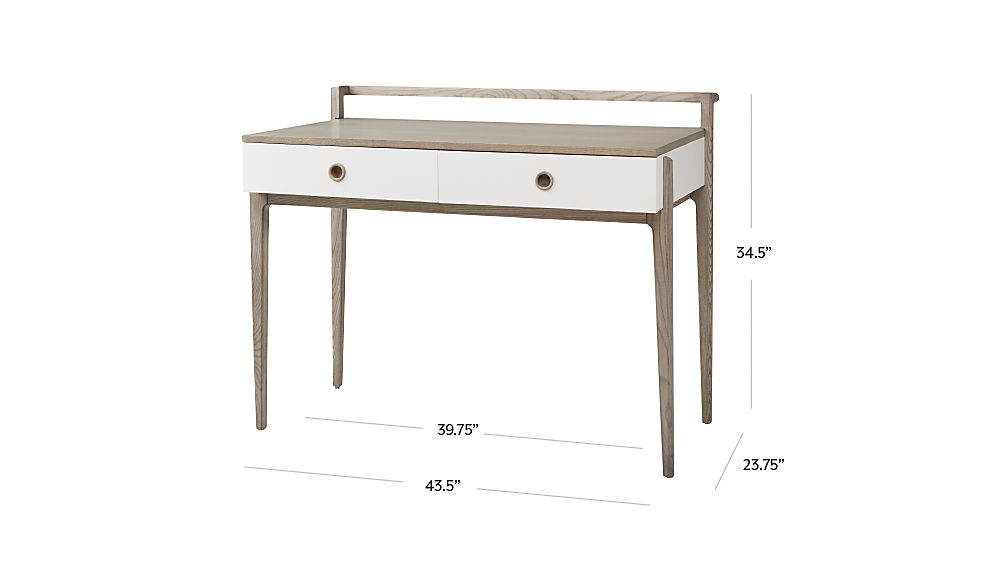 Tap To Zoom Image With Dimension For Kids Wrightwood Grey Stain And White Desk