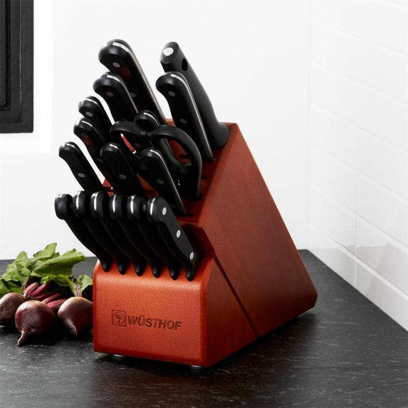 Wüsthof ® Gourmet 18 Piece Cherry Knife Block Set by Crate&Barrel
