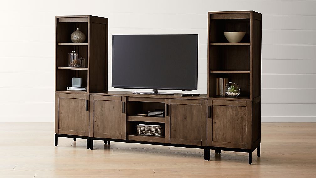 "Wyatt Grey 60"" Media Console with 2 Media Towers - Image 1 of 4"