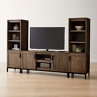 wyatt grey 60 media console with 2 media towers - Entertainment Center With Bookshelves