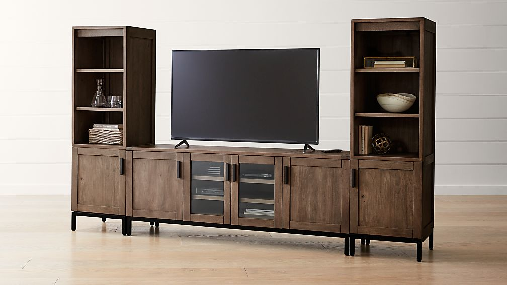 "Wyatt Grey 72"" Media Console with 2 Media Towers. - Image 1 of 4"