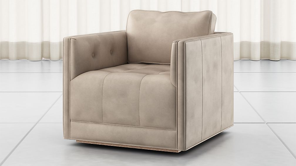 Wylie Natural Leather Swivel Chair - Image 1 of 6