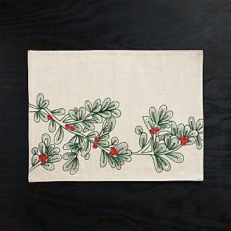 christmas botanical embroidered placemat - Christmas Placemats And Napkins