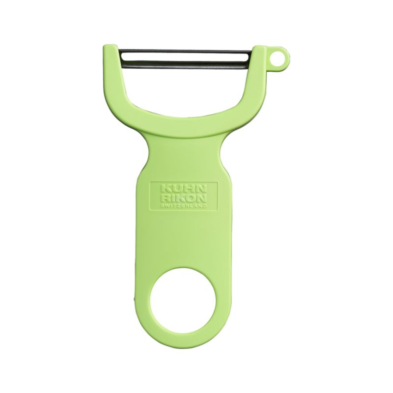A handy, sure-grip Y of bright green plastic is outfitted with an ultra-sharp carbon steel blade to effortlessly pare fruits and vegetables without tearing the skin. Handy side cutter removes eyes and blemishes.<br /><br /><NEWTAG/><ul><li>Carbon steel blade</li><li>Plastic handle</li><li>For both left- and right-hand use</li><li>Hand wash</li></ul>