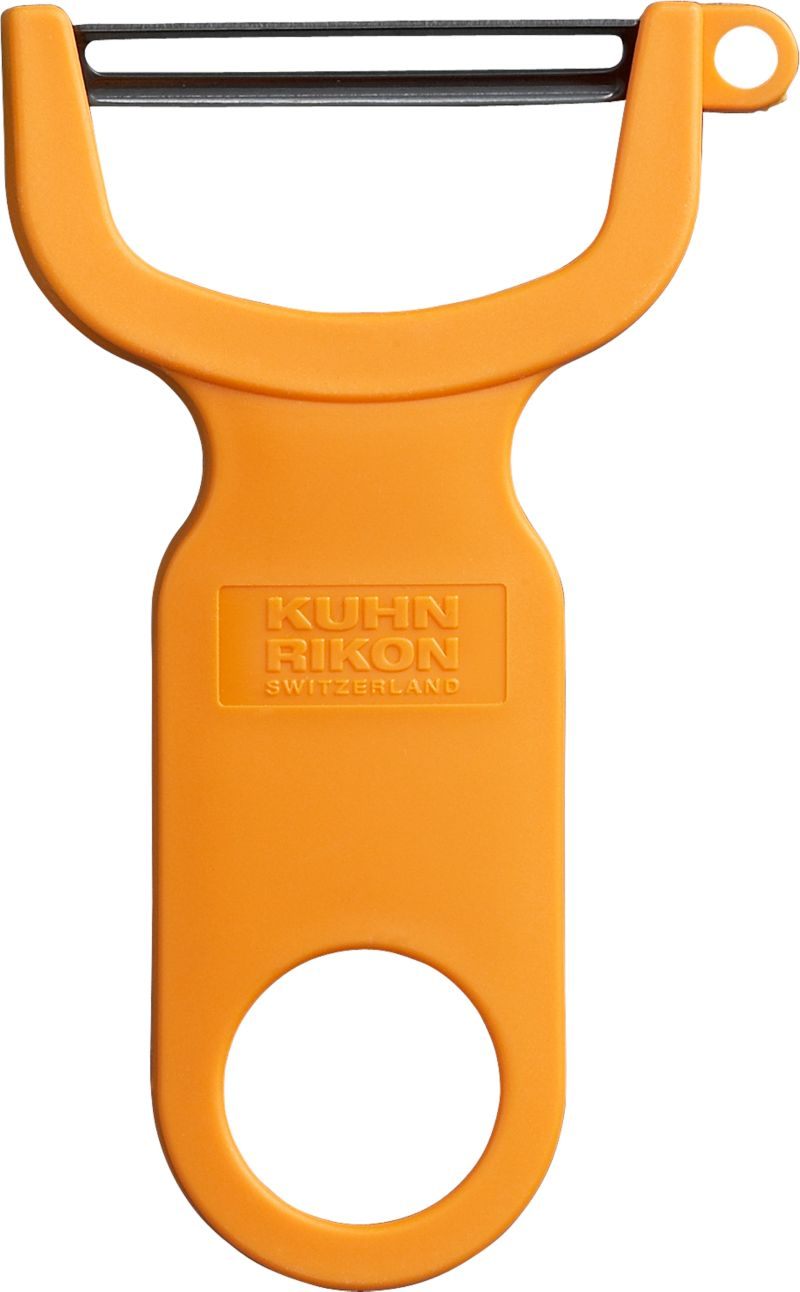 A handy, sure-grip Y of bright orange plastic is outfitted with an ultra-sharp carbon steel blade to effortlessly pare fruits and vegetables without tearing the skin. Handy side cutter removes eyes and blemishes.<br /><br /><NEWTAG/><ul><li>Carbon steel blade</li><li>Plastic handle</li><li>For both left- and right-hand use</li><li>Hand wash</li><li>Made in Switzerland</li></ul>