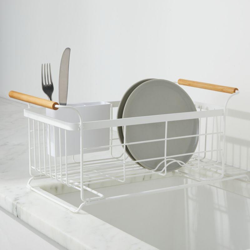 Yamazaki Tosca White Over The Sink Dish Drainer Rack