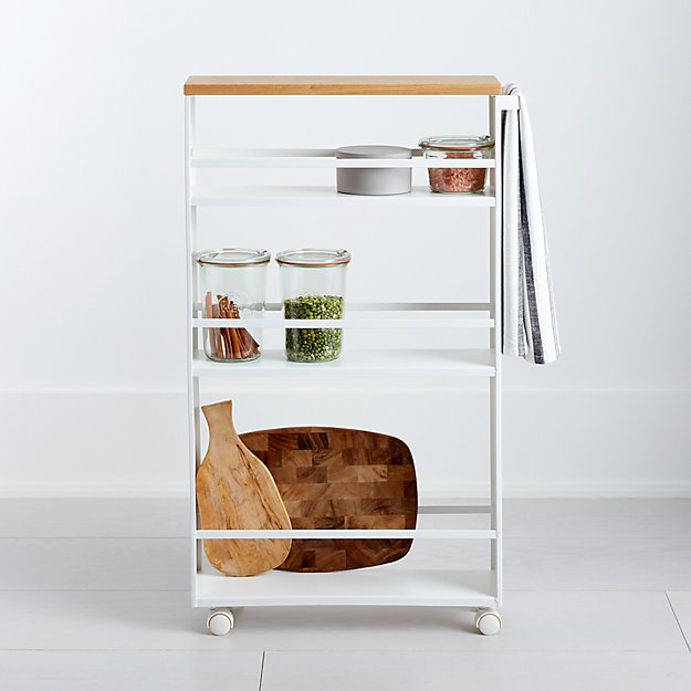 Cb2 Free Shipping >> Yamazaki Tower White Rolling Slim Storage Cart With Handle   Crate and Barrel